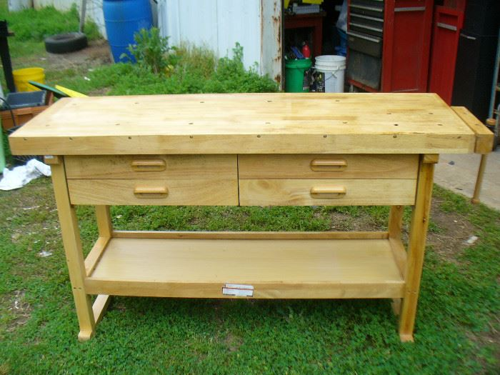Woodworkers pegged top work table with vise and drawers Ash hardwood. looks unused!!