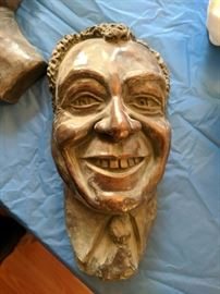 Limited edition bronze wall hanging of James Earl Jones, by the renowned Jewish artist Gene Plattner. We also have other Plattner works, plus albums of his bronzes and studies.