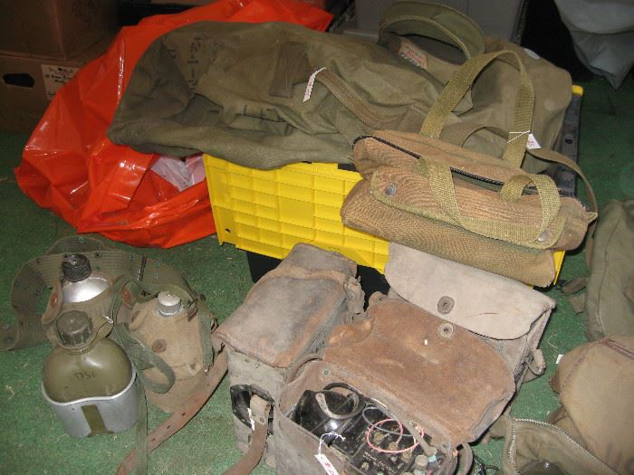 WWII Field Radios, Canteens and Bags