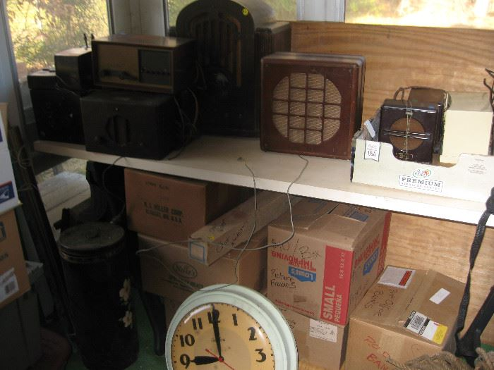 Early 19th C radios and speakers.  Mailbox banks.