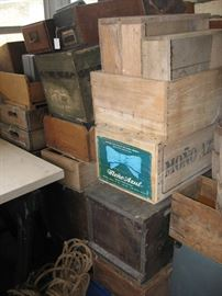 Boxes range from rustic crates to beautiful wood boxes.