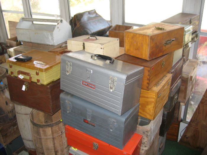 Lots of toolboxes, vintage and new, metal boxes of all sizes, nail barrels, coke, 7up, ammo, and fruit crates.