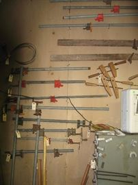 Lots of vintage screw clamps, and new and old pipe clamps.