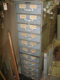 Multiple metal cabinets of different sizes.