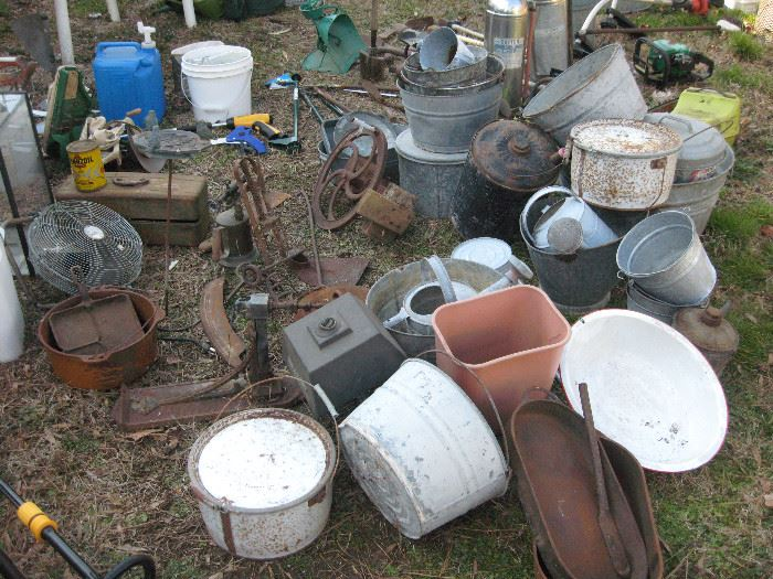 We're still pulling things out, but we've found a lot of galvanized steel items, and cast iron pots and old tools.