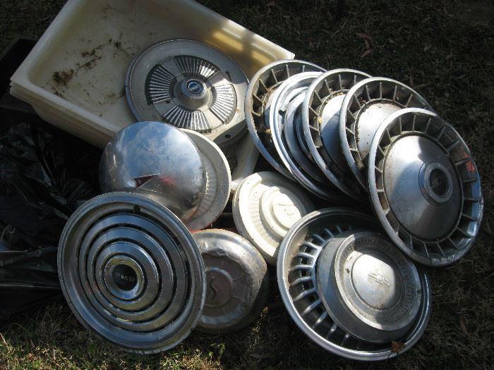 Vintage hubcaps.