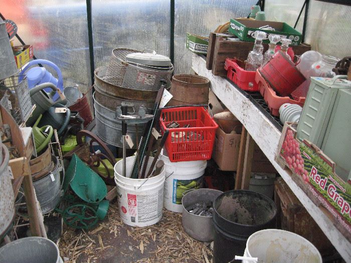Misc outside and many buckets of 6 oz. lead solder ingots.
