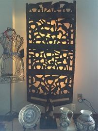 Very Very old hand carved wood Afrian Screen decor'