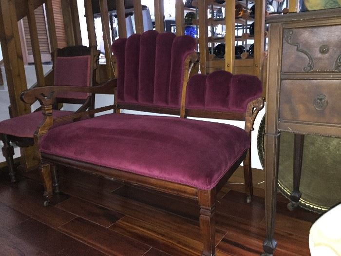 Gorgeous Antique original Eastlake Settee and Eastlake side chair.  Both in Excellent condition