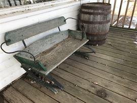 Antique Buggy Seat/Bench,  Antique  Barrel