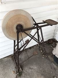 Antique Sharpening Stone Grinding Wheel~Pedal operated