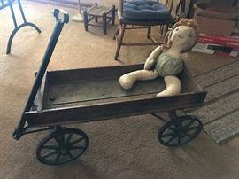 Antique Child Wooden Wagon w/ 8 Spoke Metal Wheels