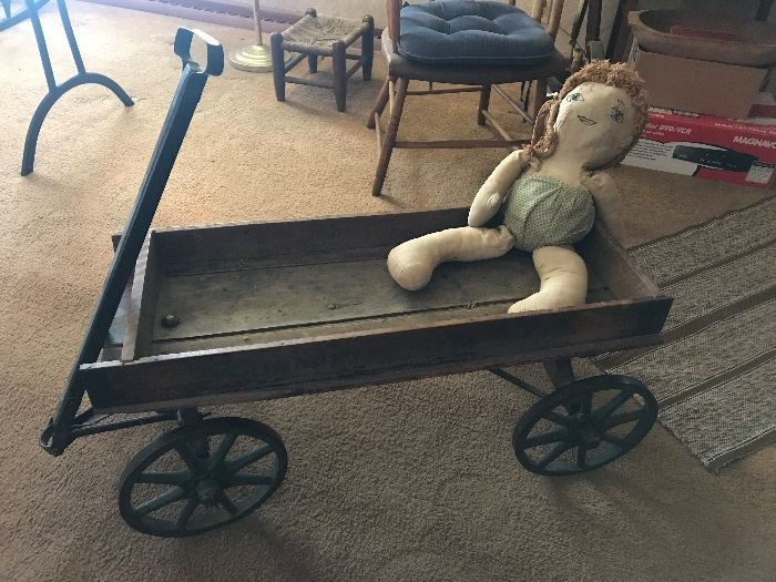Antique Child Wooden Wagon w/ 8 Spoke Metal Wheels
