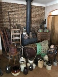 Lots of Primitives & Antiques! Jugs & Crocks, Primitive Tools, Antique Chicken Crate, Wood Chest & Crates, Vintage Geese, Vintage Wood Bicycle Wheel, Antique Barrels, Antique Baby Buggy, ect….
