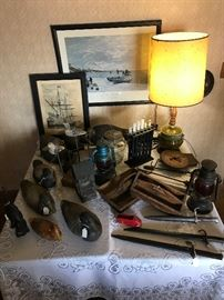 Antique Bayonets/Swords, Vintage Duck Decoys, Vintage Candle Mold, Barn Lanterns, Vintage Jars, Scale & boxes...etc.