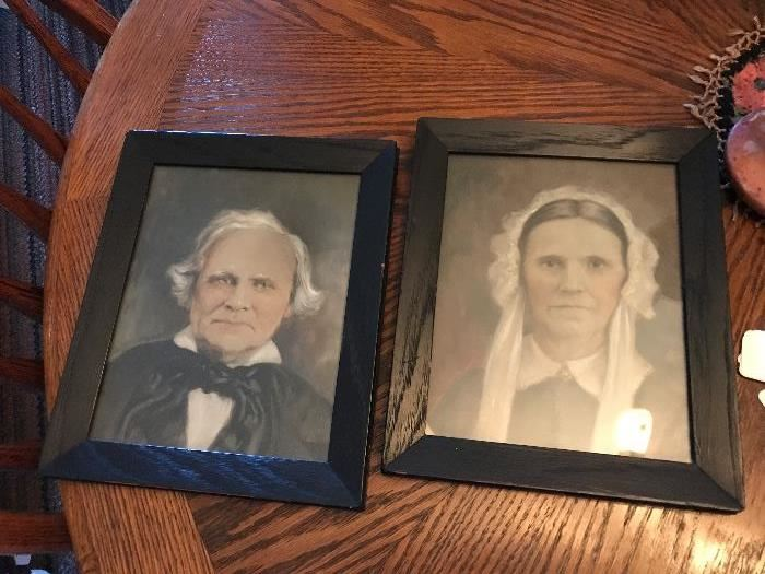 Antique 1800's Original Watercolor Black & White Framed Portraits!