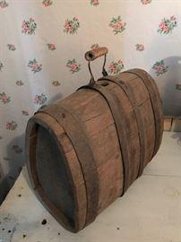 Antique Primitive Wooden Cask/Keg/Flask w/ handle