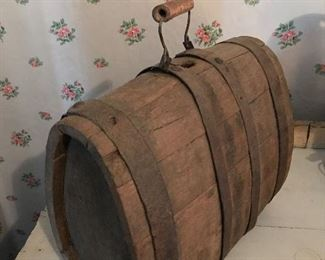Antique Primitive Wooden Cask/Keg/Flask w/ handle