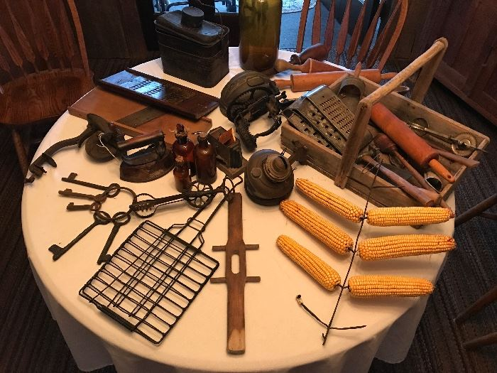 Antique Apple Peeler, Cherry Pitter, Wood Grater, Wood Slicer, Keys, Kitchen Tools and more!