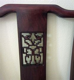 Back detail of rosewood side chair