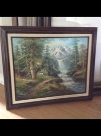 Original , Framed and Signed Waterfall Art piece.         By : R Danford