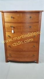 oak finish chest of drawers