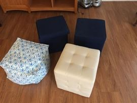 2 Storage Bins, Leather Cube and Poouf https://ctbids.com/#!/description/share/119932
