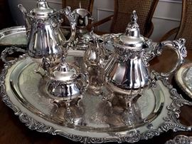 Baroque by Wallace 4 Pc. Tea Set w/ Server Tray