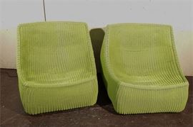 2. Pair of Oversize Wicker Lounge Chairs