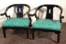 3. Pair of Hollywood Regency Chinese Horseshoe Shaped Armchairs