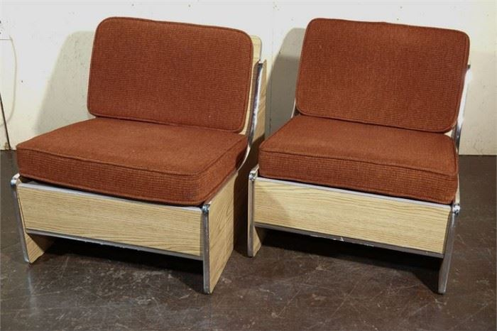 5. Pair Contemporary Oversize Slipper Chairs