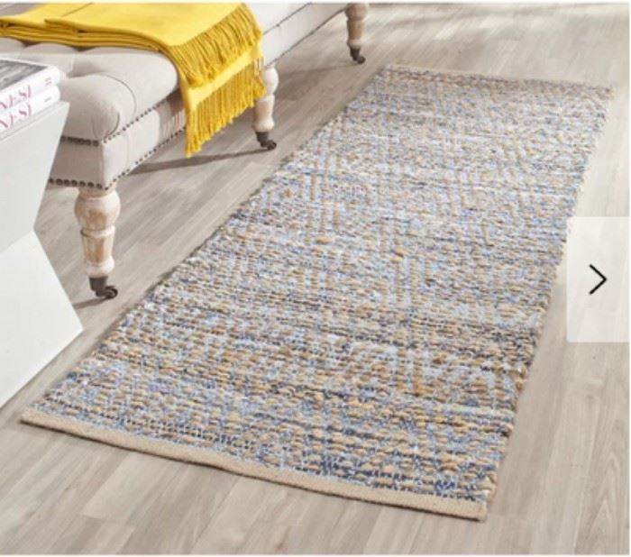 Arria Handwoven Flatweave Natural Blue Area Rug 2 ...