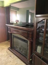 Large flat screen tv nice fireplace heater