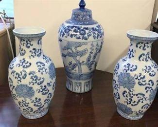 3 Piece Blue and White Ceramic