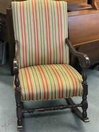 Fabric and wood Stripped Rocking chair