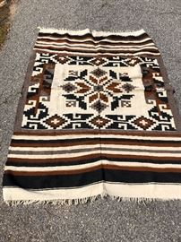 Mexican hand made rug  appx 6 x 4 - has a few damages