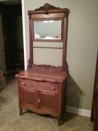 Vintage Oak Wash Stand with Mirror, Towel Bar, 1 Drawer, 2 Doors....this is a piece we will be crying when it is sold.....one of the 1st pieces Pam bought  a couple of weeks before we were married (almost 50 years ago)….…..we have no place for it in Greenville!!!!!