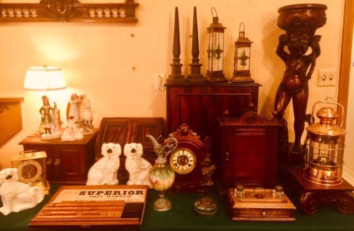 Antique Clocks, Staffordshire, Inkwell, Lanterns