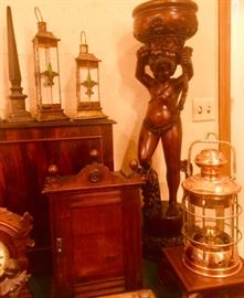 Carved Mahogany Figural Plantstand