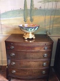 Bow front chest with butler slide. Beautiful Limoges two piece hand painted punch bowl.