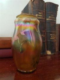 Signed LCT Art Glass Vase
