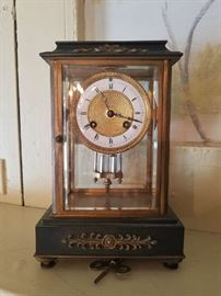 Wonderful antique mantle clock with enamel dial and gilt features. Makers- Black Starr and Frost
