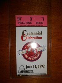 Cardinals 100th Centennial Celebration ticket June 11, 1992