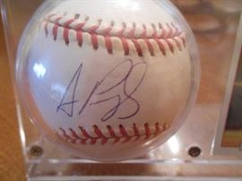 Albert Pujols signed ball in a set with his card