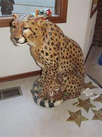 ceramic cheetah statue