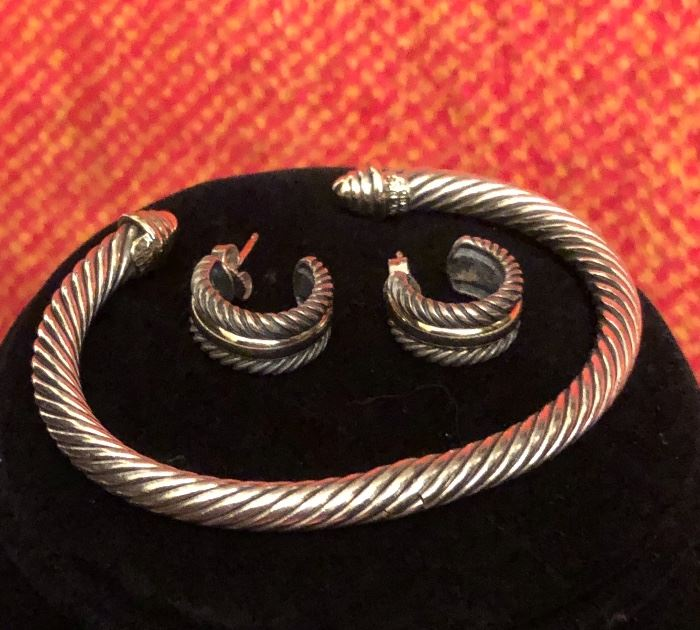 David Yurman .925 and14 KT yellow gold rope twist bracelet and matching earrings.  BRACELET IS SOLD