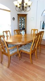 EUROPEAN DINING TABLE & SIX CUSTOM UPHOLSTERED CHAIRS