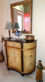 CONTEMPORARY PAINTED CABINET & MIRROR