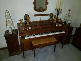 Currier Upright Piano & Bench Seat Dark Cherry Wood