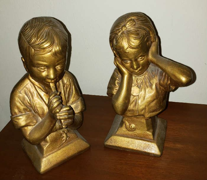 Vintage 1971 Universal Statuary Kendrick. Gold Bust Boy playing the flute & Girl